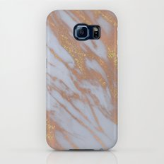 Marble -Rose Gold Marble with Yellow Gold Glitter Galaxy S6 Slim Case