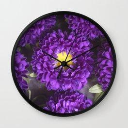 Bright Purple and Yellow Mum Flowers Wall Clock