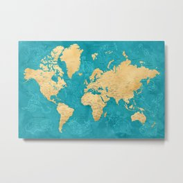 "Detailed wold map with zodiac constellations, ""Lexy"" Metal Print"
