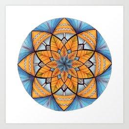Sapphire-Gold Mandala (on white) Art Print
