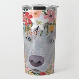 Silver Labrador with Flowers Travel Mug