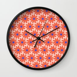 Crayon Flowers 2 Cheerful Smudgy Floral Pattern in Coral, Blue, and Millennial Pink Wall Clock