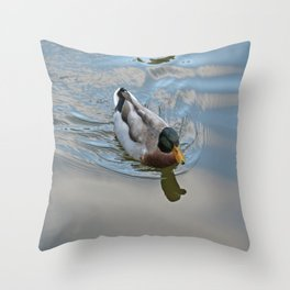Mallard duck swimming in a turquoise lake 1 Throw Pillow