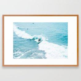 Wave Surfer Turquoise Framed Art Print