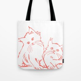 Katzen 001 / Minimal Line Drawing Of Two Cats Tote Bag