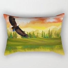 Bald Eagle Sunset Landscape (Color) Rectangular Pillow