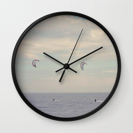 Kitesurfing on the St-Lawrence river (Québec, Canada) Wall Clock