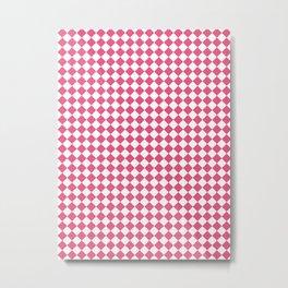 Small Diamonds - White and Dark Pink Metal Print