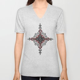 Noble House II CRUSADER RED / Grungy heraldry design Unisex V-Neck