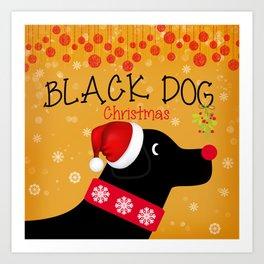 Black Dog Christmas Art Print