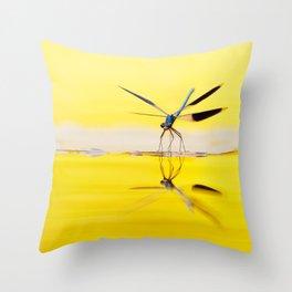 Yellow River .:. Banded Demoiselle at sundown Throw Pillow
