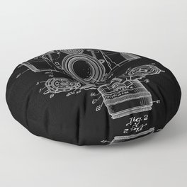 Vintage Camera Patent Black Blueprint Floor Pillow