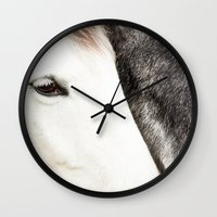 horses Wall Clocks featuring Horses by MarianaLage