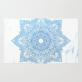 Blue flower mandala - marble Rug