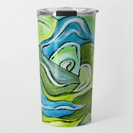 Floral in Green & Blue Travel Mug