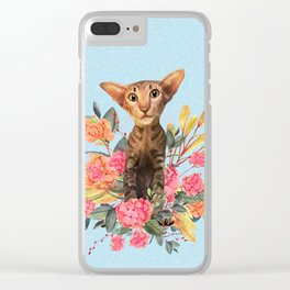 kitty in spring blossom Clear iPhone Case
