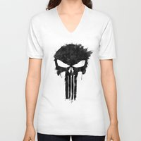 punisher V-neck T-shirts featuring Punisher Black by d.bjorn
