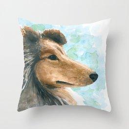 Rough Collie dog Throw Pillow