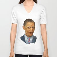 obama V-neck T-shirts featuring Obama 2012 by HOPE 4 MORE