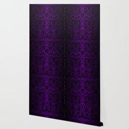 Purple and Black Damask Pattern Design Wallpaper