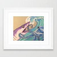 fight Framed Art Prints featuring Fight! by Kat Lyon