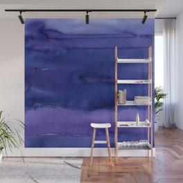 Blue Violet Watercolor Horizontal Stripes Abstract Wall Mural