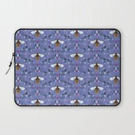 Folk Honey Bee Pattern on Cornflower Blue Laptop Sleeve