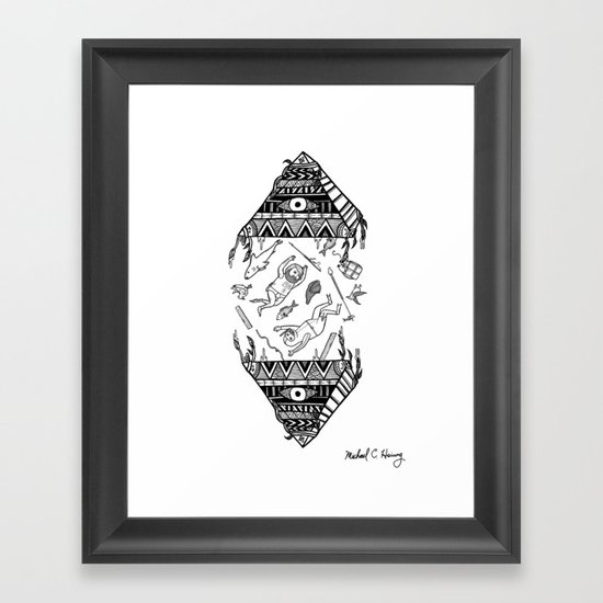 On how the mystical levitation of divers are induced by floating pyramids Framed Art Print