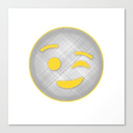 Emoji Winky face in gray and yellow Canvas Print