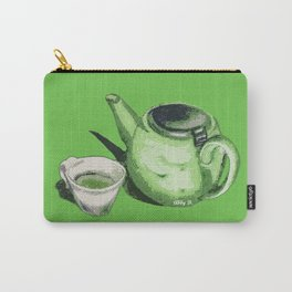 Green Tea and Teapot Illustration Art Carry-All Pouch