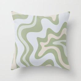 Liquid Swirl Contemporary Abstract Pattern in Light Sage Green Throw Pillow