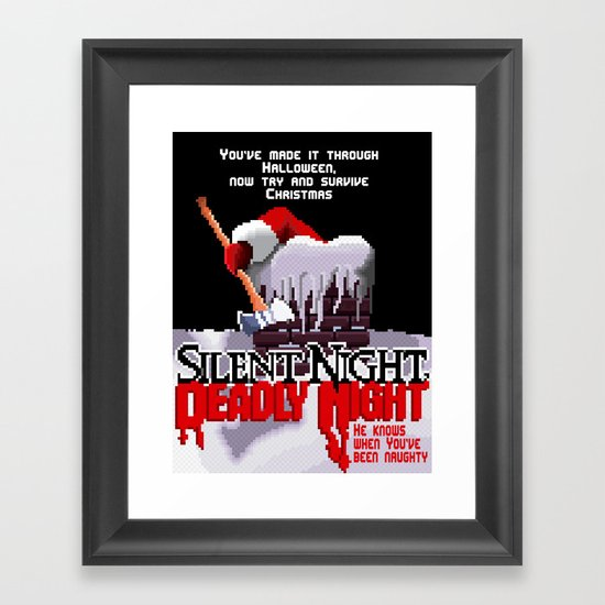 8 Bit Silent Night, Deadly Night Framed Art Print