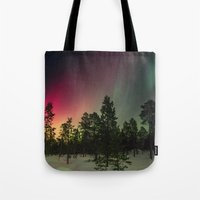 northern lights Tote Bags featuring Northern Lights  by Limitless Design