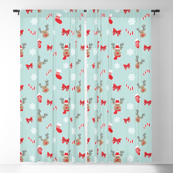 b87c78946670 Merry christmas and happy new year mitterns, bells and socks holiday  pattern Blackout Curtain