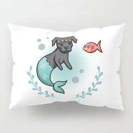 Mermaid Princess Pit Bull Dog with Little Fish Friend Pillow Sham