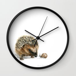 """""""Close Encounter"""" painting of a Hedgehog and Snail by Teresa Thompson Wall Clock"""