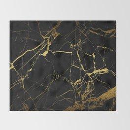Black-Gold Marble Impress Throw Blanket