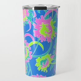 Bold Tropical Floral in Neon Blue + Lime Travel Mug