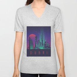 Dubai City Skyline Retro Art Deco Tourism - Night Unisex V-Neck