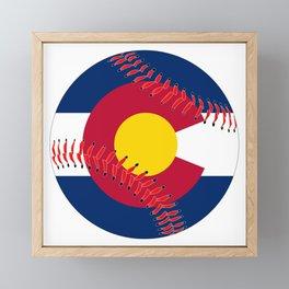 Colorado Flag Baseball Framed Mini Art Print