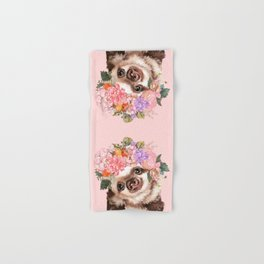 Baby Sloth with Flowers Crown in Pink Hand & Bath Towel