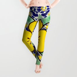 talavera mexican tile in yellow and blu Leggings