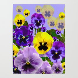 SPRING PURPLE & YELLOW PANSY FLOWERS Poster