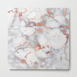 Glam stylish faux rose gold gray abstract blush chic marble Metal Print