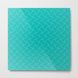 Aqua Blue Wimbledon Tennis Ball Repeating Pattern Metal Print