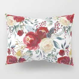 Botanical red ivory pastel blue hand painted floral Pillow Sham