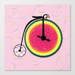 Vintage Bicycle Fruits Wheels Design Canvas Print
