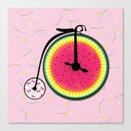 Vintage Bicycle Fruits Wheels Design Canvas Print