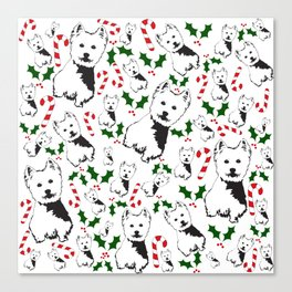 WEST HIGHLAND TERRIER CHRISTMAS GIFTS WRAPPED FOR ALL Canvas Print