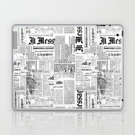Black And White Collage Of Grunge Newspaper Fragments Laptop & iPad Skin